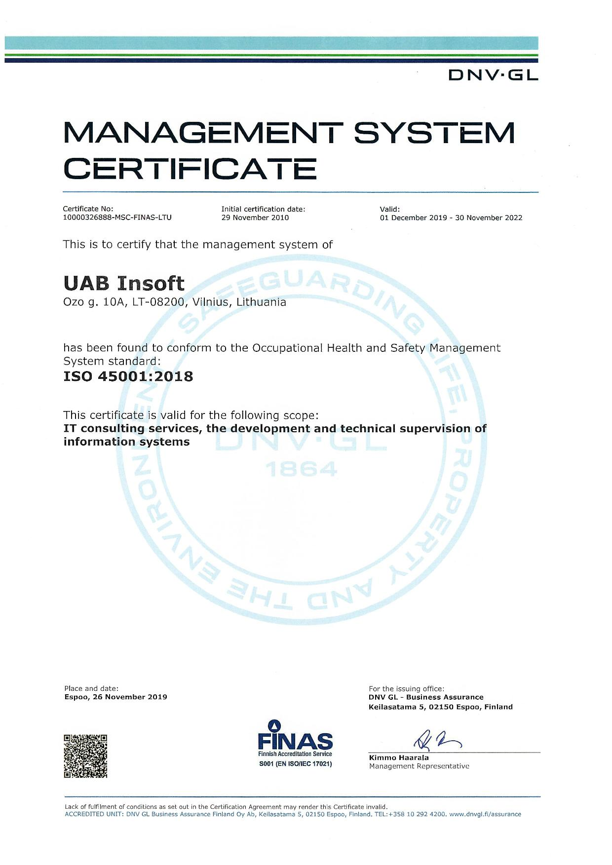 Management System Certificate ISO 45001:2018