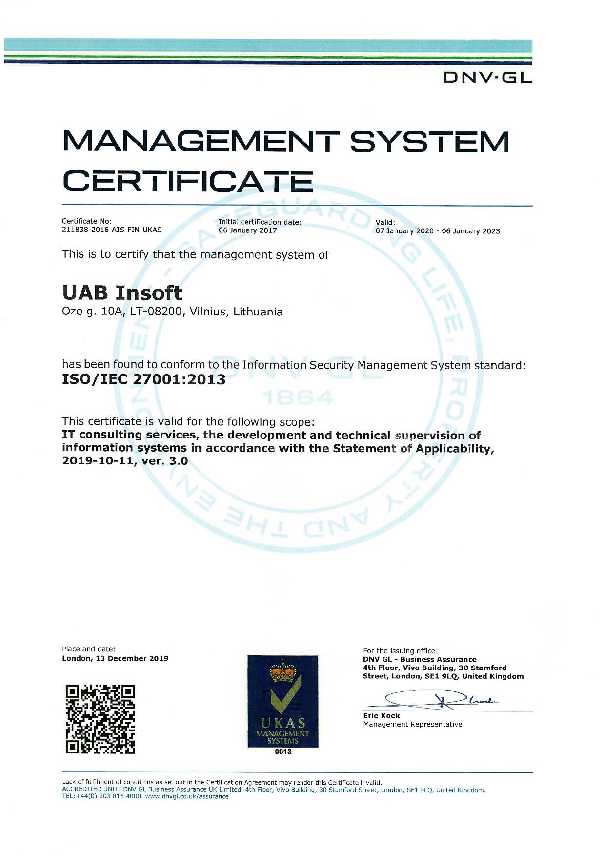 Management System Certificate ISO/IEC 27001:2013